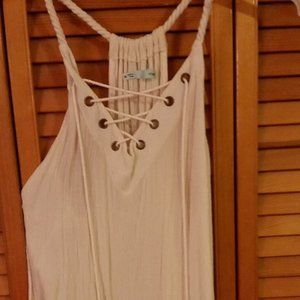 Women's Maurice's White Lace Up Tank in Medium
